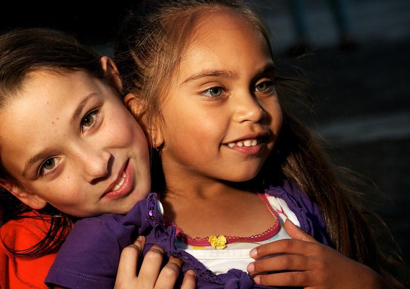 Aboriginal Australian Girl and a Caucasian Girl