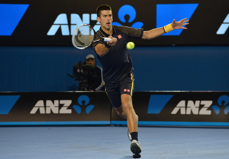 . Serbia\'s Novak Djokovic plays a return during his men\'s singles final against Britain\'s Andy Murray on day fourteen of the Australian Open tennis tournament in Melbourne on January 27, 2013.   PAUL CROCK/AFP/Getty Images