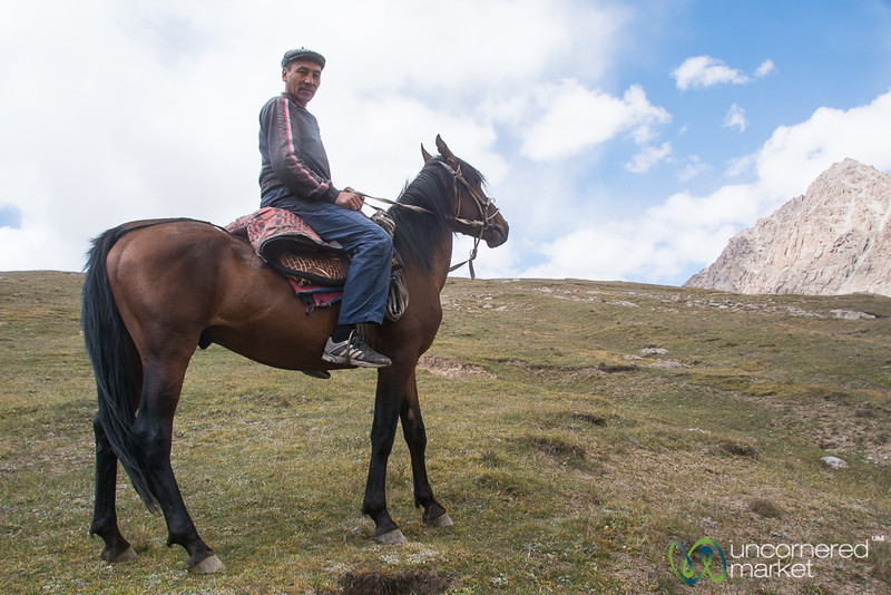Kyrgyz Shepherd Meets Us on Koshkol Lakes Trek- Alay Mountains, Kyrgyzstan