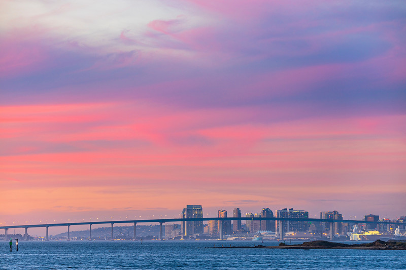 Tonight's Cotton Candy Sky Sunset Over Downtown San Diego