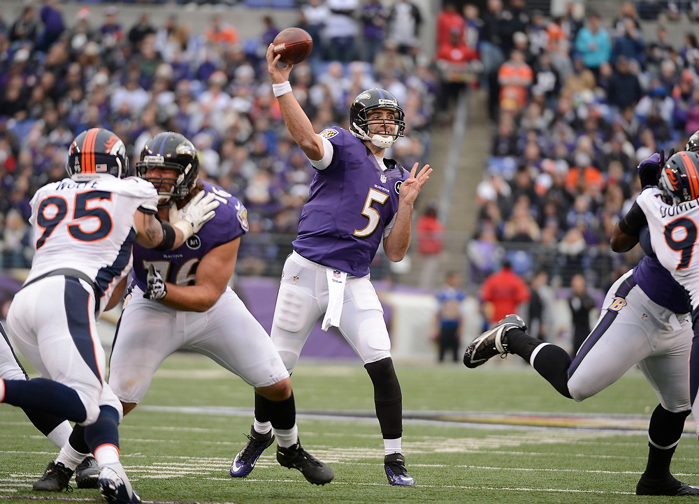 Description of . Baltimore Ravens quarterback Joe Flacco (5) throws a pass during the second quarter against the Denver Broncos Sunday, December 16, 2012 at M&T Bank Stadium. John Leyba, The Denver Post