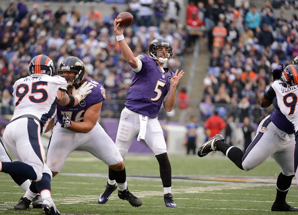 . Baltimore Ravens quarterback Joe Flacco (5) throws a pass during the second quarter against the Denver Broncos Sunday, December 16, 2012 at M&T Bank Stadium. John Leyba, The Denver Post