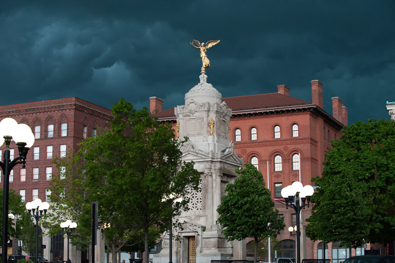 05/15/18  Wesley Bunnell | Staff  Storm clouds roll over New Britain City Hall and the monuments in Central Park at 4:00pm Tuesday on which just a short time before was a bright sunny day.