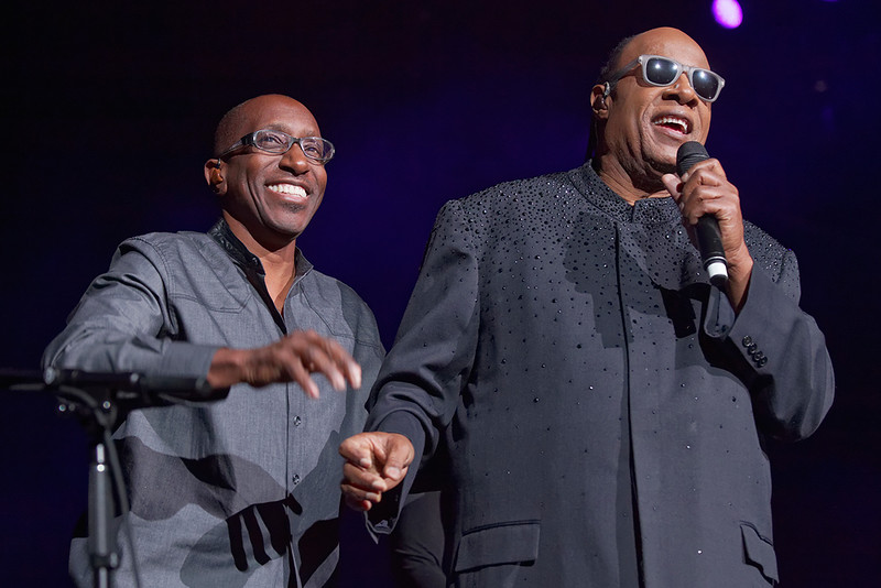 . Stevie Wonder with producer -Greg Phillenganes on Nov. 20, 2014 at the Palace of Auburn Hills. Photo by Ken Settle