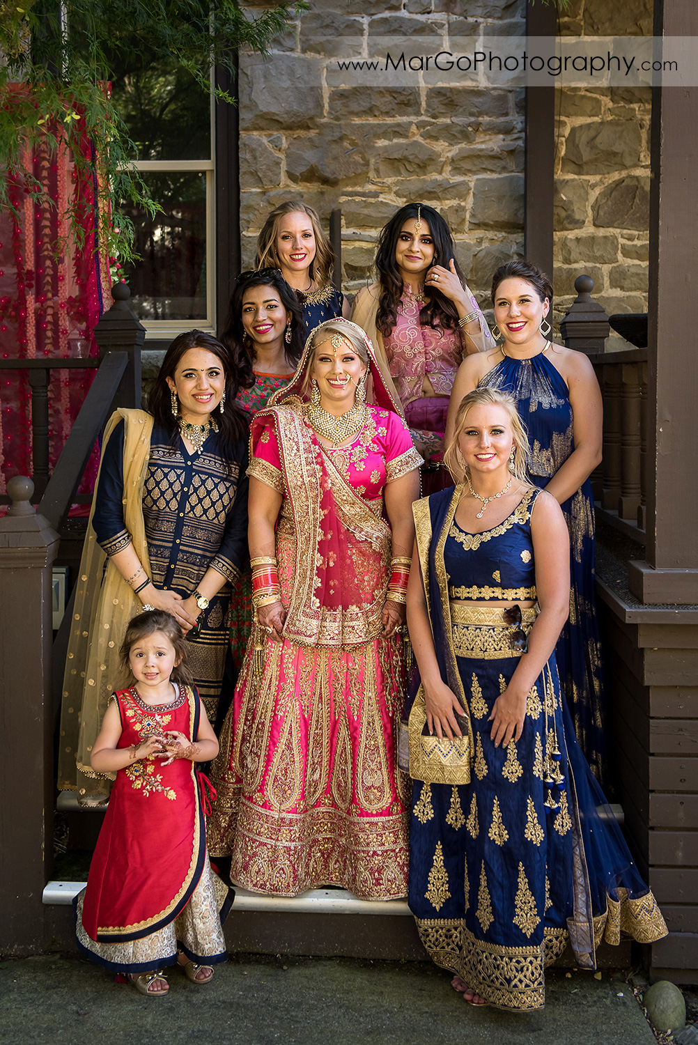 Indian bride with bridesmaids before wedding ceremony at Elliston Vineyards in Sunol