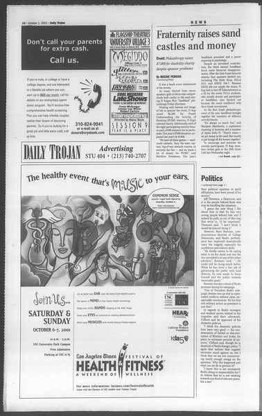 Daily Trojan, Vol. 144, No. 23, October 01, 2001