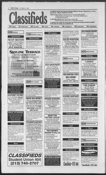 Daily Trojan, Vol. 129, No. 26, October 04, 1996