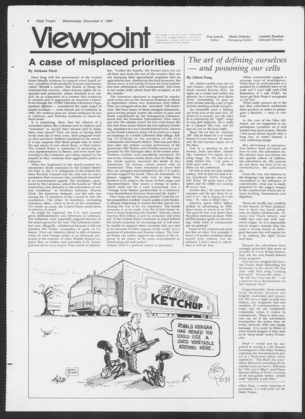 Daily Trojan, Vol. 97, No. 63, December 05, 1984