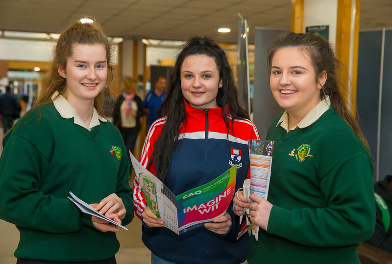 Pictured at the CAO Information Evening at WIT Main Campus are Sarah Grace and Eden Fitzgibbon from New Ross with Student Ambassador Anna Flynn. Picture: Patrick Browne  The event gave school leavers, parents, mature students a chance to learn more about areas of study they're interested in and learn about student life at WIT. The evening featured: lecturers were available to talk about specific course information; current students were on hand to talk about their college experiences; fees and grants and student supports information; chance to take a tour of the campus and facilities; book on-campus accommodation.   Elaine Larkin, PR Executive, WIT 051-845577
