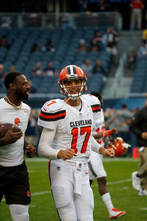 . Cleveland Browns quarterback Brock Osweiler (17) before an NFL football game against the Chicago Bears, Thursday, Aug. 31, 2017, in Chicago. (AP Photo/Charles Rex Arbogast)