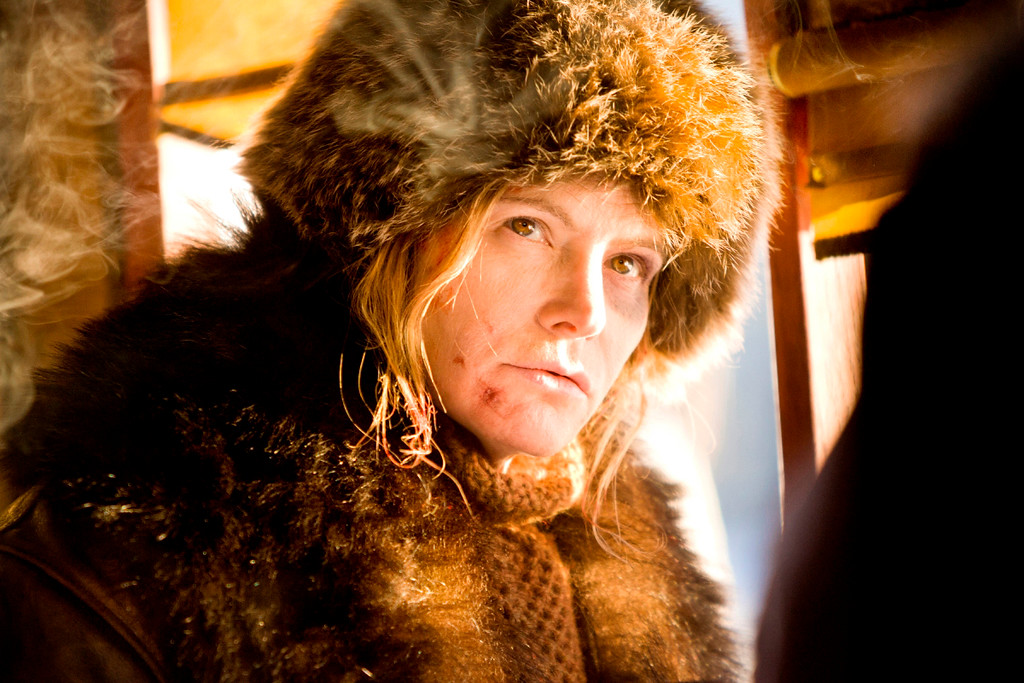 ". This image released by The Weinstein Company shows Jennifer Jason Leigh in a scene from ""The Hateful Eight.\"" Leigh was nominated for an Oscar for best supporting actress on Thursday, Jan. 14, 2016, for her role in the film. The 88th annual Academy Awards will take place on Sunday, Feb. 28, at the Dolby Theatre in Los Angeles.  (Andrew Cooper/The Weinstein Company via AP)"