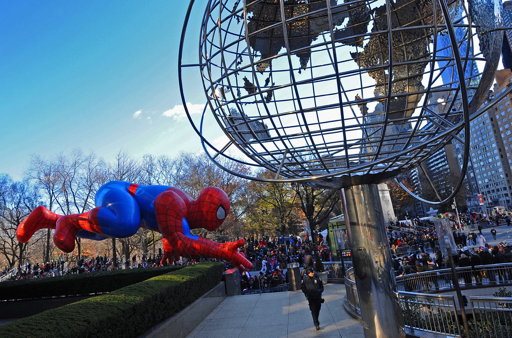 . The Spiderman balloon floats in the Macy\'s 87th Annual Thanksgiving Day Parade in New York City, USA, 28 November 2013. The annual parade, which began in 1924, features giant balloons of characters from popular culture floating above the streets of Manhattan.  EPA/PETER FOLEY