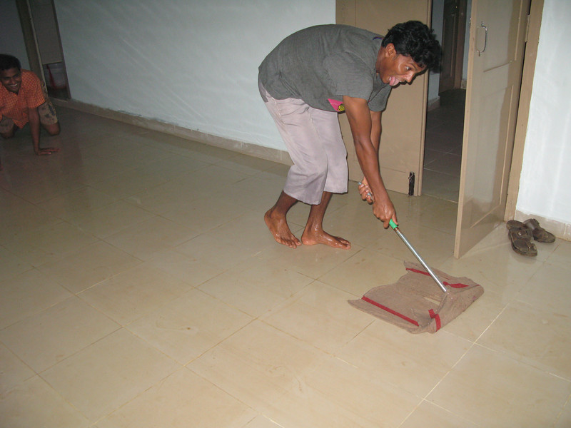 Br. Balaiah working hard preparing the building before the celebrations.