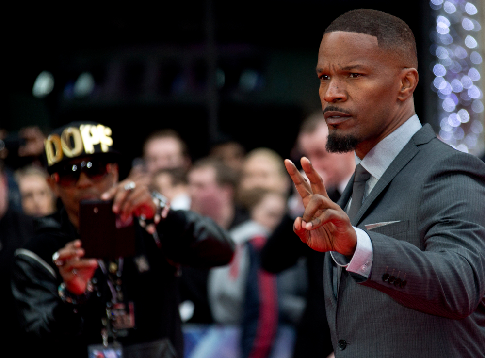 . US actor Jamie Foxx arrives for the World premiere of The Amazing Spiderman 2, at a central London cinema in Leicester Square, Thursday, April 10, 2014. (Photo by Joel Ryan/Invision/AP)