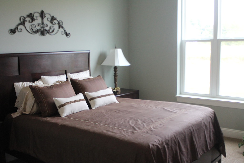 . The bedroom  in one of the model cottages in Notre Dame Village. Residents have the option to a two bedroom cottage or a one bedroom cottage with den. Kristi Garabrandt - The News-Herald