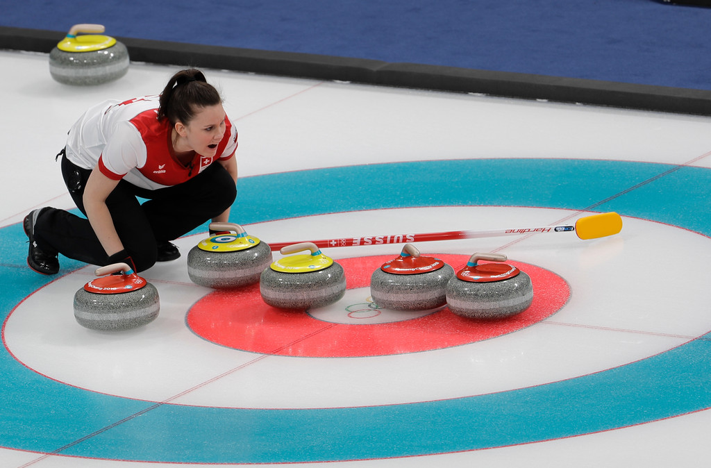. Switzerland Jenny Perret makes a call during the mixed doubles semi-final curling match against Russian athletes Anastasia Bryzgalova and Aleksandr Krushelnitckii at the 2018 Winter Olympics in Gangneung, South Korea, Monday, Feb. 12, 2018. (AP Photo/Natacha Pisarenko)