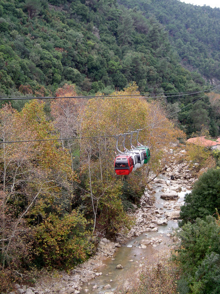 cable car going up a river valley to the impressive Jeita Grotto / caves near Beirut
