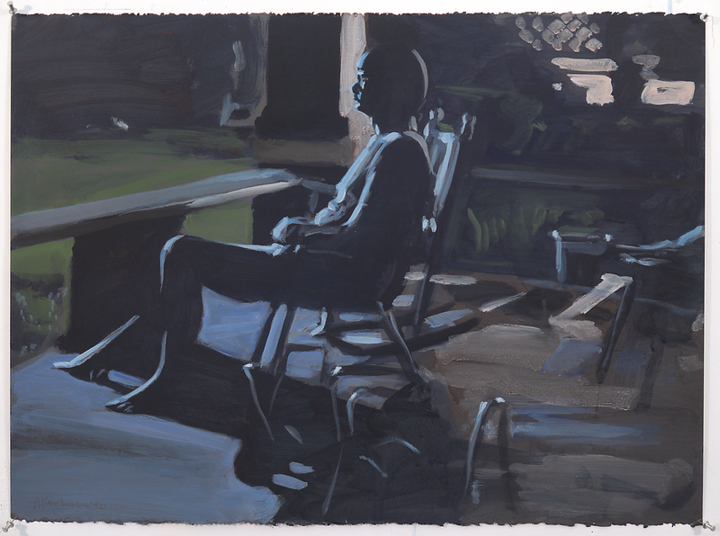 Night porch I; acrylic on paper, 22 x 30 in, 1990