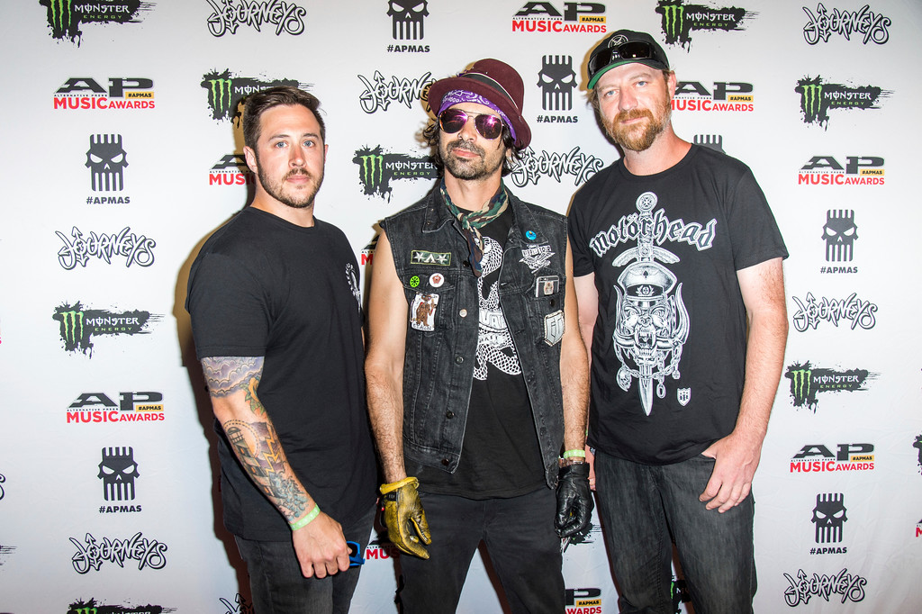 . Matt Deis, from left, Chad I Ginsburg and Jess Margera of CKY seen at 2017 Alternative Press Music Awards at the KeyBank State Theatre on Monday, July 17, 2017, in Cleveland. (Photo by Amy Harris/Invision/AP)