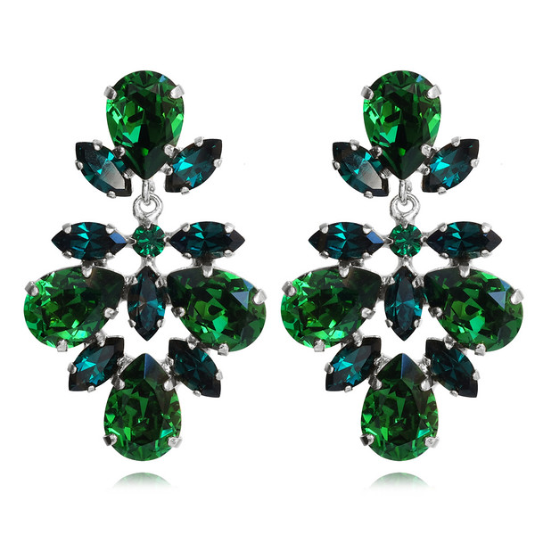 Selene Earrings / Dark Moss Green + Emerald / Rhodium