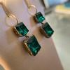Georgian Double Drop Emerald Paste Earrings 10