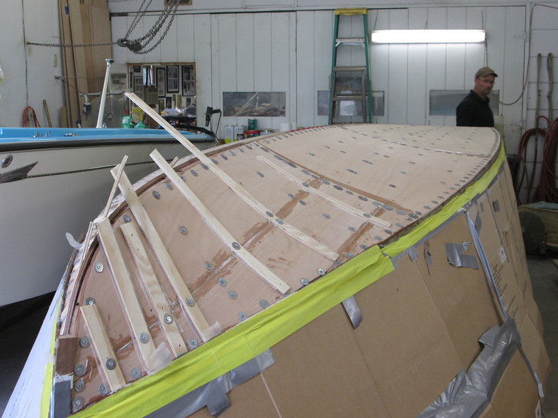 Starboard front view of plywood installed.