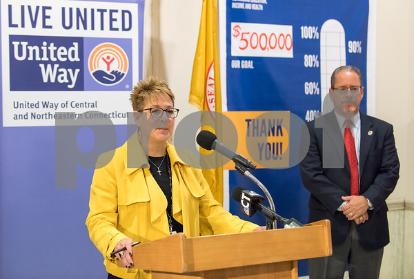 11/21/17 Wesley Bunnell | Staff A conference was held Tuesday morning at New Britain City Hall between the city and The United Way announcing a program where city employees can elect to have a portion of their paycheck automatically donated to The United Way. Superintendent of Schools Nancy Sarra speaks as President of the NB Chamber of Commerce Tim Stewart looks on.