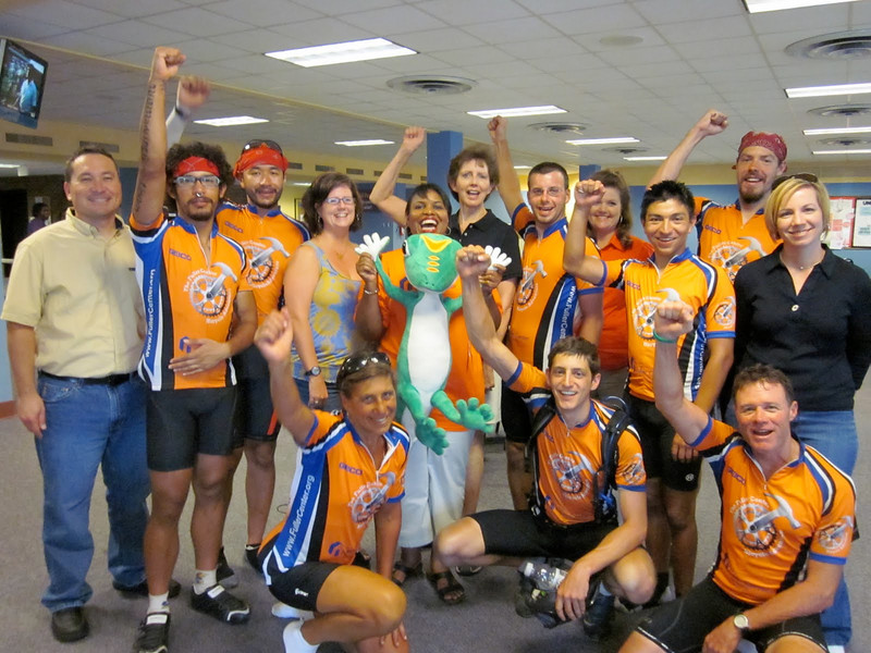 2010 07-23  Linda Fuller, Beverly Black, Ryan Iafigliaola and other bikers receive warm welcome at Geico offices.  ky