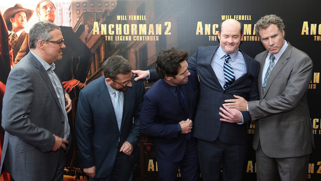 ". Actors Will Ferrell, right, and David Koenchner, second right, gesture as director Adam McKay, left, Steve Carell, second left, Paul Rudd, look on at the Australian premiere of  movie ""Anchorman 2\"" in Sydney, Australia, Sunday, Nov. 24, 2013. (AP Photo/Steve Christo)"