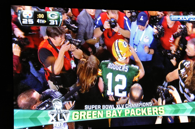 2011/2/6 – I was still down from hurting my back yesterday so there were not many opportunities to get a photo. I stayed in bed and watched some TV but just before the Super Bowl started they came and took my TV down to the main level. I followed it and watched the Packers beat the Steelers. I was cheering for Pittsburgh since that's were I served my mission but they couldn't pull it off. Since I couldn't really get around easily I planned from the start of the game to get a picture of the winner on the TV.