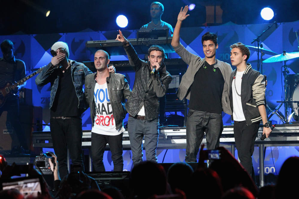 . Jay McGuiness, Max George, Tom Parker, Siva Kaneswaran and Nathan Sykes of The Wanted perform onstage during Z100\'s Jingle Ball 2012, presented by Aeropostale, at Madison Square Garden on December 7, 2012 in New York City.  (Photo by Kevin Kane/Getty Images for Jingle Ball 2012)