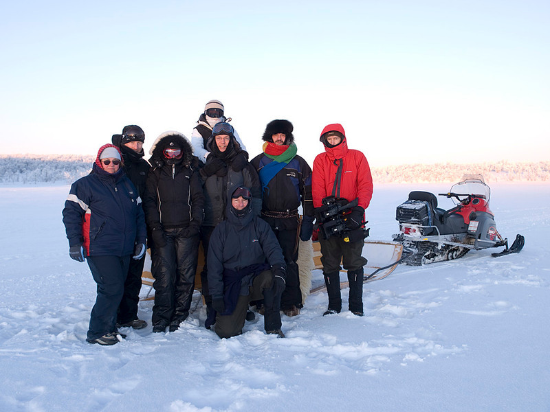 Group shot on the plateau before the arrival of the dog sleds. Left to right - PJ, Mark, Deb, Rebs, Simon, Me (kneeling), our host Oskar and Al.