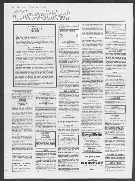 Daily Trojan, Vol. 91, No. 35, March 04, 1982