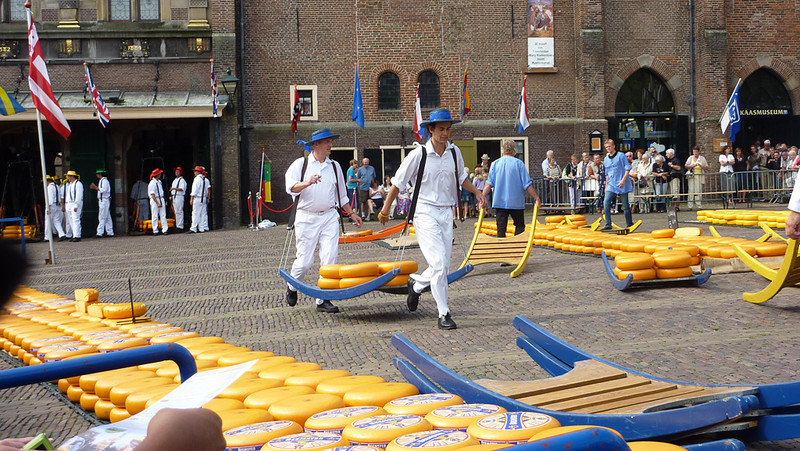 Alkmaar. The guys in the colorful hats represent the different cheese guilds.