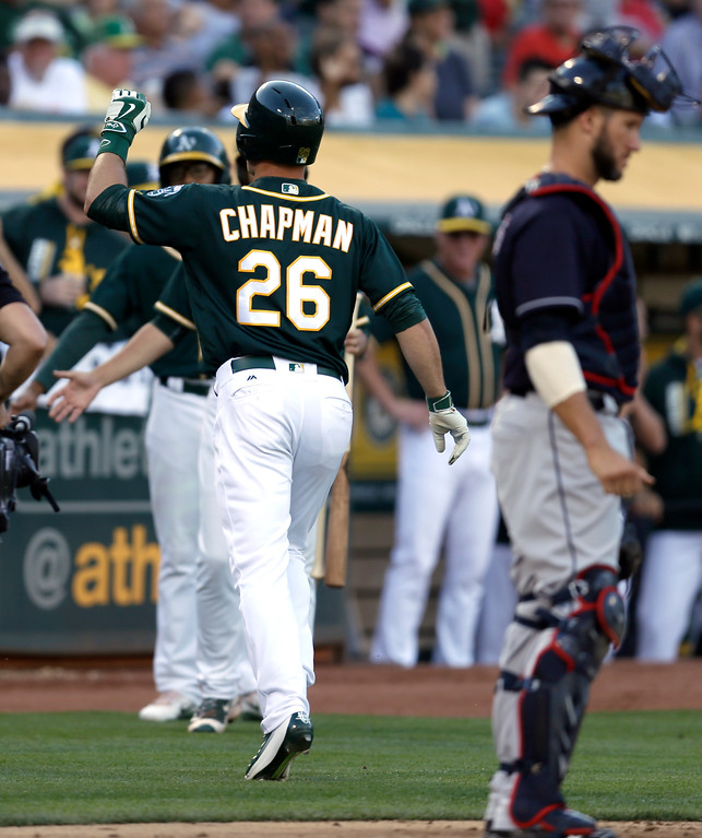 . Oakland Athletics\' Matt Chapman (26) is congratulated after hitting a home run off Cleveland Indians\' Corey Kluber during the fourth inning of a baseball game Saturday, July 15, 2017, in Oakland, Calif. (AP Photo/Ben Margot)