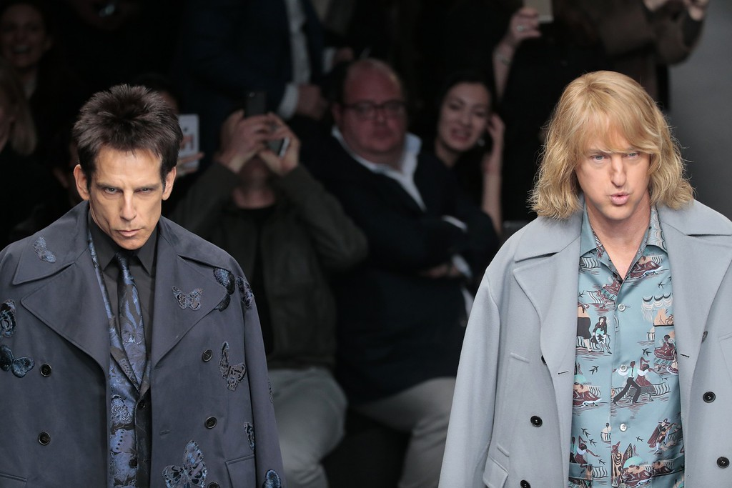 . Actors Ben Stiller, left, and Owen Wilson wear creations for Valentino\'s ready-to-wear fall-winter 2015-2016 fashion collection presented during the Paris fashion week, in Paris, France, Tuesday, March 10, 2015.(AP Photo/Jacques Brinon)