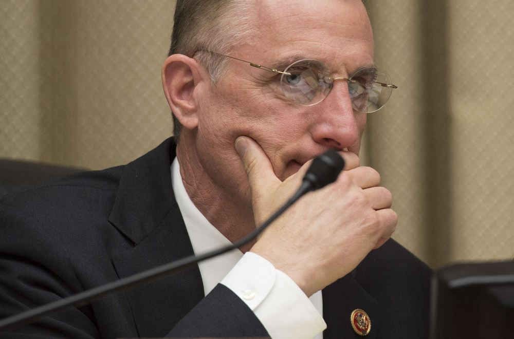 . Chairman of the House Energy and Commerce Committee Congressman Tim Murphy, R-PA, listens to testimony from General Motors CEO during a hearing on the GM ignition switch recall on Capitol Hill in Washington, DC, April 1, 2014. (JIM WATSON/AFP/Getty Images)