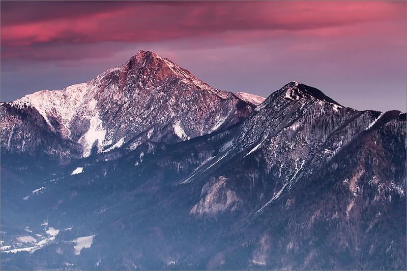 Mt. Storžič seen from Dobrač