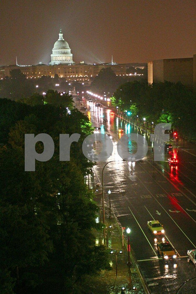 The view from the Newseum to the Capitol on a rainy night.