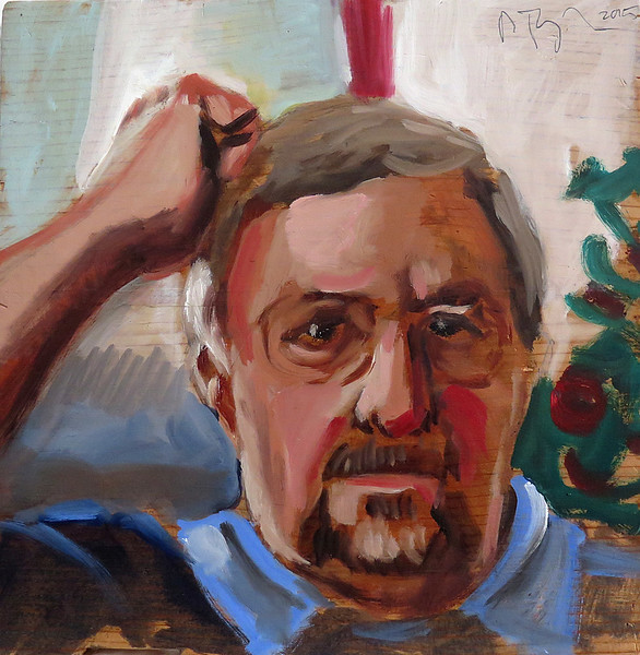 Portrait study - Kipp B; oil on panel, approx 11 x 11 in, 2015