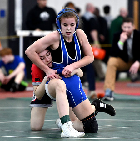 2/29/2020 Mike Orazzi | StaffrStafford's Sabrina Sedor and Conard's Gabriela Boucher during the CIAC 2020 State Open Wrestling Tournament at the Floyd Little Athletic Center in New Haven.rr