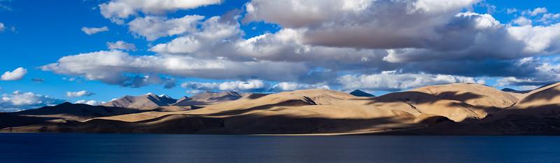 Panorama of Himalayan lake Tso Moriri. Ladakh, India