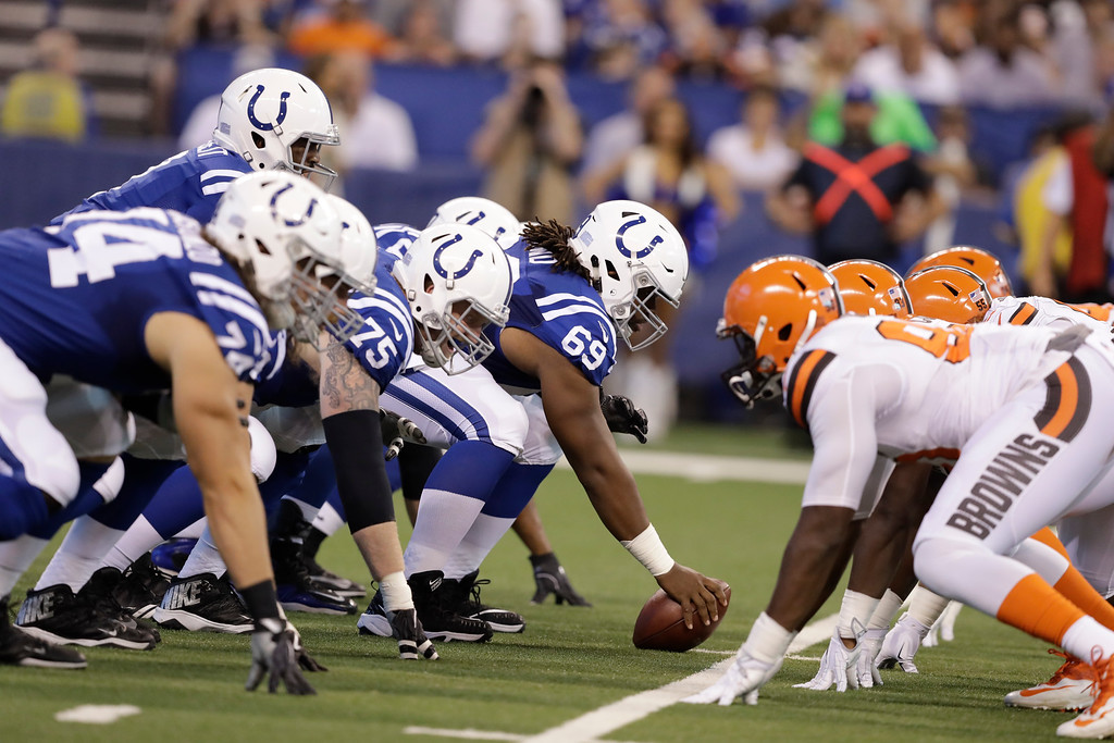 . The Indianapolis Colts face the Cleveland Browns during the first half of an NFL football game in Indianapolis, Sunday, Sept. 24, 2017. (AP Photo/Darron Cummings)