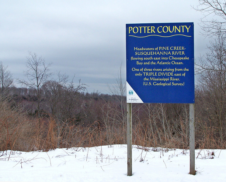 Headwaters of Pine Creek and Susquehanna River Sign. The Susquehanna provides 45 percent of the fresh water entering the Chesapeake Bay, and supplies drinking water to 6.2 million people.