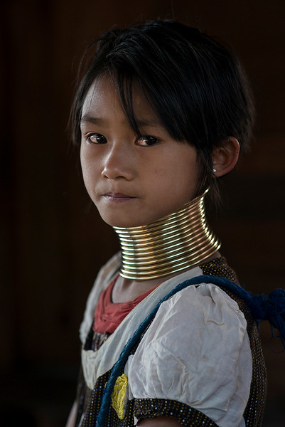 A young girl from the Kayan tribe.  Kayah State, myanmar, 2017.