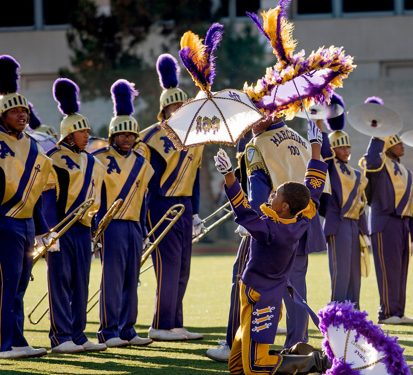 . St. Augustine High School Marching 100 of New Orleans, La. performs during the Pasadena Tournament of Roses Bandfest I at Pasadena City College Dec. 29, 2013.   (Staff photo by Leo Jarzomb/Pasadena Star-News)