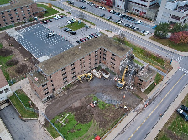 180315 MA, Facilities, Pritchard Hall destruction, aerials by Mark Adams