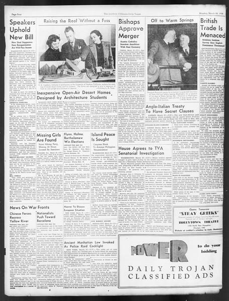 Daily Trojan, Vol. 29, No. 107, March 28, 1938