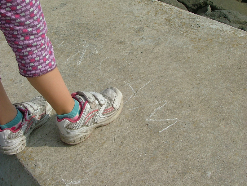 Sam left chalk markings wherever we went