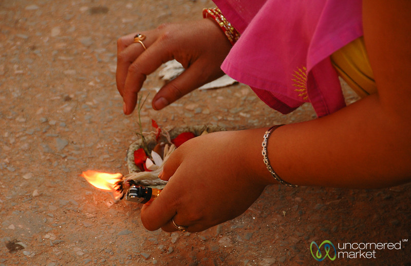Lighting an Offering - Patan, Nepal